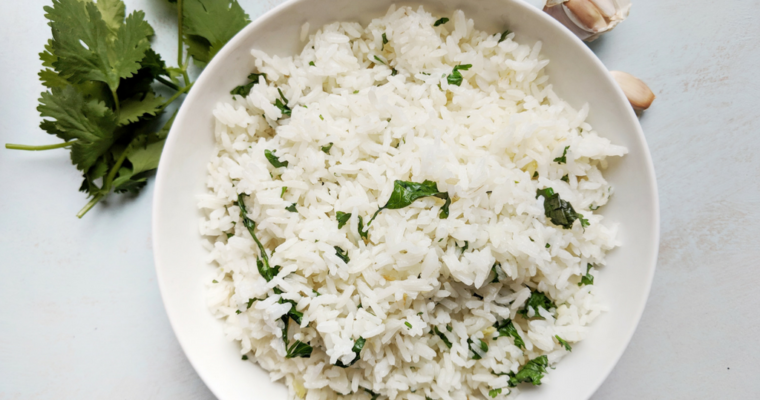Easy Garlic Cilantro Rice with Lime